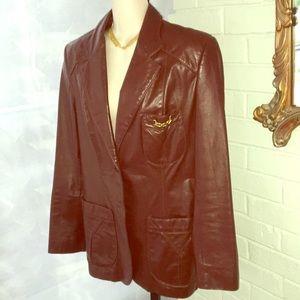 Etienne Aigner Burgundy brown leather jacket 14